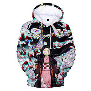 cheap Anime Costumes-Inspired by Demon Slayer: Kimetsu no Yaiba Cosplay Cosplay Costume Hoodie Polyster Print Printing Hoodie For Men's / Women's
