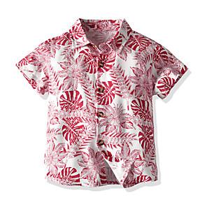 cheap Bluetooth Car Kit/Hands-free-Kids Toddler Boys' Basic Street chic Color Block Short Sleeve Shirt Red