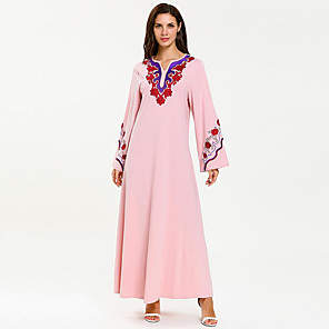 cheap Dog Clothes-Adults' Women's A-Line Slip Abaya Dress Muslim Dress Maxi Dresses For Party Cotton Embroidered Halloween Carnival Masquerade Dress