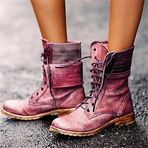 cheap Women's Boots-Women's Boots Comfort Shoes Flat Heel Round Toe PU Mid-Calf Boots Winter Brown / Red / Blue
