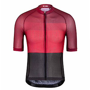 cheap Cycling Jerseys-21Grams Men's Short Sleeve Cycling Jersey Black / Red Bike Jersey Top Mountain Bike MTB Road Bike Cycling UV Resistant Breathable Quick Dry Sports Clothing Apparel / Stretchy / Reflective Strips