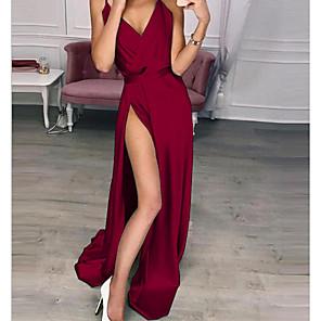 cheap Maxi Dresses-Women's Maxi Swing Dress - Sleeveless Solid Colored Strap Elegant Slim Wine Blue Purple Red Green Silver Beige S M L XL XXL XXXL