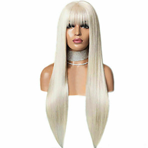 cheap Synthetic Lace Wigs-Synthetic Lace Front Wig Straight With Bangs Lace Front Wig Blonde Long Blonde Synthetic Hair 18-26 inch Women's Soft Adjustable Party Blonde