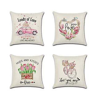 cheap Pillow Covers-4 pcs Linen Pillow Cover  Lovers Wedding Valentine's Day  Car Flower Throw Pillow 45*45 cm
