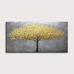 cheap Floral/Botanical Paintings-Oil Painting Hand Painted - Landscape Floral / Botanical Modern Rolled Canvas