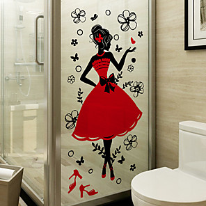 cheap Wall Stickers-Fashion Girl Window Film & Stickers Decoration Patterned / Cartoon Flower / Floral / Character PVC(PolyVinyl Chloride) Window Sticker / Matte / Door Sticker