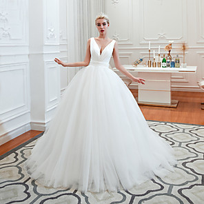 cheap Wedding Veils-A-Line Wedding Dresses V Neck Court Train Tulle Spaghetti Strap Formal Romantic Casual with 2020