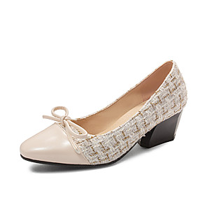 cheap Wedding Shoes-Women's Heels Chunky Heel Square Toe Bowknot Linen / PU Minimalism Spring &  Fall Black / Almond / Party & Evening / Color Block