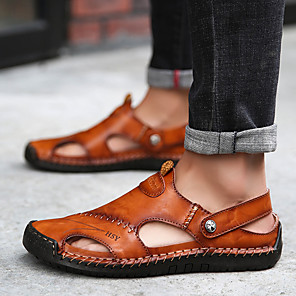 cheap Wall Stickers-Men's Leather Spring & Summer Classic / British Slippers & Flip-Flops Walking Shoes Breathable Black / Light Brown / Dark Brown