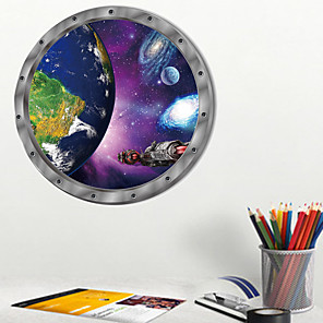 cheap Wall Stickers-Space Planet Wall Sticker Cartoon Earth Kids Room Bedroom Nursery Mural Decals PVC Removable Decorative Post / Toilet Seat Wall Sticker Art Bathroom Decals Decor