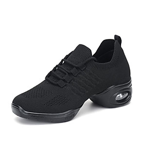 cheap Dance Sneakers-Women's Dance Sneakers Knit Lace-up Sneaker Thick Heel Customizable Dance Shoes Black / White