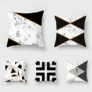 cheap Pillow Covers-5 pcs Throw Pillow Simple Classic 45*45 cmBlack and White Car LUMBAR PILLOW SOFA pillow cover