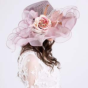 cheap Historical & Vintage Costumes-Queen Elizabeth Audrey Hepburn Retro Vintage Kentucky Derby Hat Fascinator Hat Women's Organza Costume Hat Purple / Pink / Camel Vintage Cosplay Party Party Evening