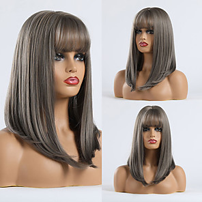 cheap Synthetic Trendy Wigs-Synthetic Wig kinky Straight Natural Straight Minaj Neat Bang With Bangs Wig Long Black / Green Synthetic Hair 18 inch Women's Fashionable Design Party Comfortable Green