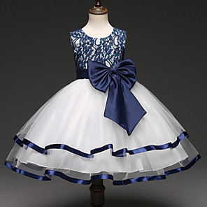 cheap Movie & TV Theme Costumes-Princess Dress Flower Girl Dress Girls' Movie Cosplay A-Line Slip Cosplay Ink Blue Dress Halloween Carnival Masquerade Tulle Lace Polyester