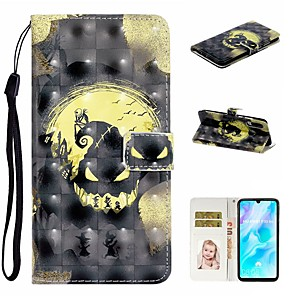 cheap Huawei Case-Case For Huawei P20 Pro / Huawei P20 lite / Huawei P30 Wallet / Card Holder / with Stand Full Body Cases Skull PU Leather For Huawei P30 Lite/P30 Pro/P8 Lite 2017/P10 Lite