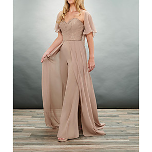 cheap Ballroom Dancewear-Pantsuit / Jumpsuit Mother of the Bride Dress Elegant V Neck Floor Length Chiffon 3/4 Length Sleeve with Ruching 2020