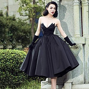 cheap Evening Dresses-A-Line Wedding Dresses Strapless V Neck Tea Length Tulle Polyester Strapless Sexy Black with 2020