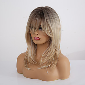 cheap Human Hair Capless Wigs-Synthetic Wig Matte kinky Straight Lily With Bangs Wig Blonde Long Light Blonde Synthetic Hair 20 inch Women's Fashionable Design Color Gradient Comfortable Blonde EMMOR