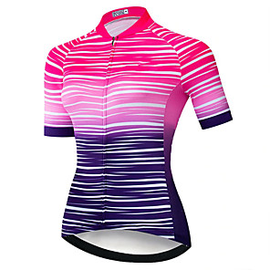 cheap Cycling Jerseys-21Grams Women's Short Sleeve Cycling Jersey Polyester Spandex Black / Red Stripes Bike Jersey Top Mountain Bike MTB Road Bike Cycling UV Resistant Breathable Quick Dry Sports Clothing Apparel