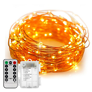 cheap LED String Lights-1pcs 100LED Fairy Lights Battery Operated 10m String Lights Remote Control Timer Twinkle String Lights 8 Modes Firefly Lights