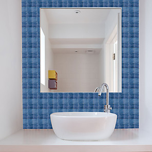 cheap Bathroom Gadgets-Fun life 10*10cm*19pcs Fashionable Blue Self-Adhesive Waterproof DIY Wall Art Home Kitchen Bedroom Bathroom kitchen Tile Sticker Wall Sticker
