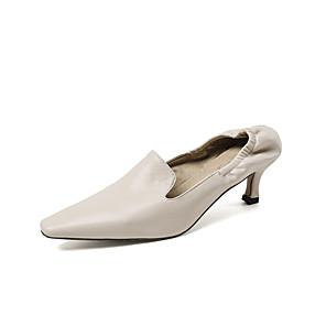 cheap Women's Heels-Women's Heels Kitten Heel Pointed Toe PU Minimalism Spring &  Fall Black / Almond / Yellow / Party & Evening