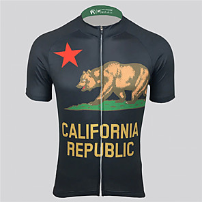 cheap Cycling Jerseys-21Grams Men's Short Sleeve Cycling Jersey Polyester Spandex Black Bike Jersey Top Mountain Bike MTB Road Bike Cycling UV Resistant Breathable Quick Dry Sports Clothing Apparel / Stretchy / Race Fit
