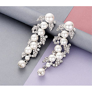 cheap Earrings-Women's Pearl Hoop Earrings Classic Love Classic Vintage Pearl Earrings Jewelry White For Wedding Party 1 Pair
