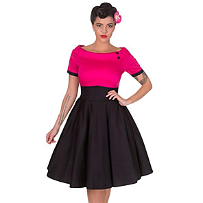 cheap Historical & Vintage Costumes-Audrey Hepburn Retro Vintage 1950s Wasp-Waisted Dress Women's Cotton Costume Black / Red / Fuchsia Vintage Cosplay Party Daily Wear Long Sleeve Midi