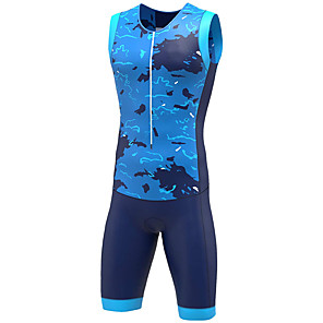 cheap Triathlon Clothing-21Grams Women's Sleeveless Triathlon Tri Suit Camouflage Blue Grey Bike Clothing Suit UV Resistant Breathable Quick Dry Sweat-wicking Sports Graphic Mountain Bike MTB Road Bike Cycling Clothing