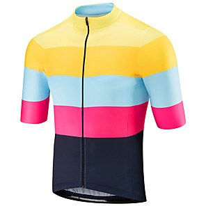 cheap Cycling Jerseys-21Grams Men's Short Sleeve Cycling Jersey Polyester Spandex Black / Yellow Stripes Patchwork Bike Jersey Top Mountain Bike MTB Road Bike Cycling UV Resistant Breathable Quick Dry Sports Clothing