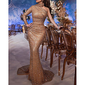 cheap Favor Holders-Mermaid / Trumpet Gold Engagement Formal Evening Dress One Shoulder Long Sleeve Sweep / Brush Train Charmeuse Sequined with Sequin 2020