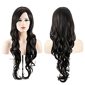 cheap Synthetic Trendy Wigs-Synthetic Wig Cosplay Wig Highlighted Hair Wavy Body Wave Side Part Wig Long Natural Black Synthetic Hair 26inch Women's Cosplay Soft Adjustable Black / Heat Resistant / Heat Resistant