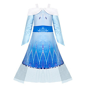 cheap Movie & TV Theme Costumes-Elsa Dress Girls' Movie Cosplay Cosplay Halloween Blue Dress Halloween Carnival Masquerade Tulle Polyester