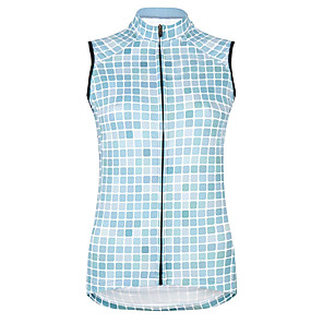 cheap Cycling Jerseys-21Grams Women's Sleeveless Cycling Jersey Cycling Vest Sky Blue Plaid / Checkered Bike Jersey Top Mountain Bike MTB Road Bike Cycling UV Resistant Breathable Quick Dry Sports Clothing Apparel