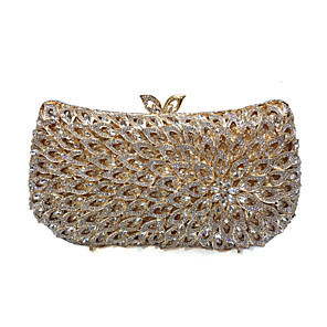 cheap Clutches & Evening Bags-Women's Crystals / Hollow-out Alloy Evening Bag Solid Color Gold