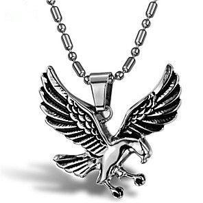 cheap Pendant Necklaces-Men's Pendant Necklace Classic Eagle Punk Titanium Steel Silver 55 cm Necklace Jewelry 1 Piece For Holiday Daily Wear