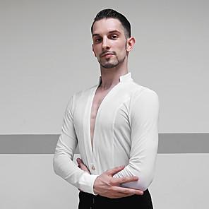 cheap Latin Dancewear-Latin Dance Top Ruching Men's Performance Long Sleeve Mesh Velvet