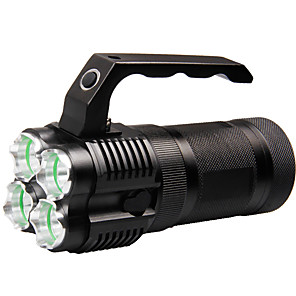 cheap Flashlights & Camping Lanterns-Handheld Flashlights / Torch 500 lm LED LED 4 Emitters with Charger Portable Camping / Hiking / Caving Everyday Use Cycling / Bike Black