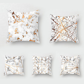 cheap Throw Pillow Covers-Set of 5 Throw Pillow Simple Classic 45*45 cm Nordic marbled Car Waist Pillow Sofa pillow case