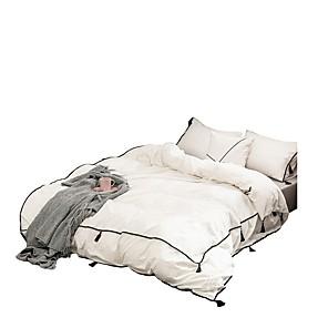 cheap Geometric Duvet Covers-Duvet Cover Sets 4 Piece Cotton Solid Colored White Applique Contemporary