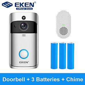 cheap Video Door Phone Systems-EKEN V5 Smart WiFi Video Doorbell With 3*18650 Battery and 1*Chime
