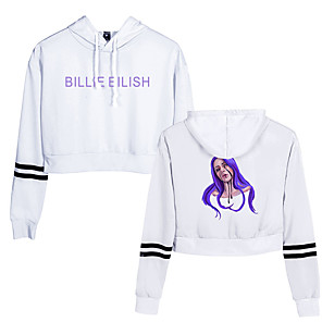 cheap Everyday Cosplay Anime Hoodies & T-Shirts-Inspired by Cosplay Billie Eilish Cosplay Costume Hoodie Cotton Fibre Print Printing Hoodie For Men's / Women's