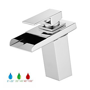 cheap Bathroom Sink Faucets-Bathroom Sink Faucet - LED / Waterfall Chrome Centerset Single Handle One HoleBath Taps