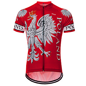 cheap Cycling Jerseys-21Grams Eagle Poland National Flag Men's Short Sleeve Cycling Jersey - Red Bike Jersey Top Breathable Quick Dry Moisture Wicking Sports Terylene Mountain Bike MTB Road Bike Cycling Clothing Apparel