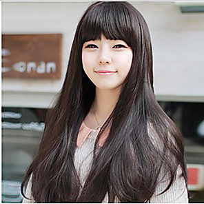 cheap Synthetic Trendy Wigs-Synthetic Wig Straight kinky Straight Asymmetrical Wig Long Natural Black Synthetic Hair 27 inch Women's Best Quality Brown