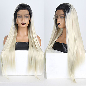 cheap Synthetic Lace Wigs-Synthetic Lace Front Wig Straight Free Part Lace Front Wig Blonde Ombre Long Ombre Blonde Synthetic Hair 18-26 inch Women's Soft Adjustable Party Blonde Ombre