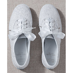 cheap Wedding Shoes-Women's Sneakers Glitter Crystal Sequined Jeweled Flat Heel Round Toe Canvas Spring & Summer White / Wedding