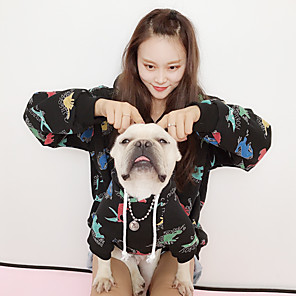 cheap Dog Clothes-Dog Cat Costume Hoodie Matching Outfits Cartoon Quotes & Sayings Leisure Animal Sports Casual / Daily Winter Dog Clothes Warm Black Costume Plush Women M S M L XL XXL